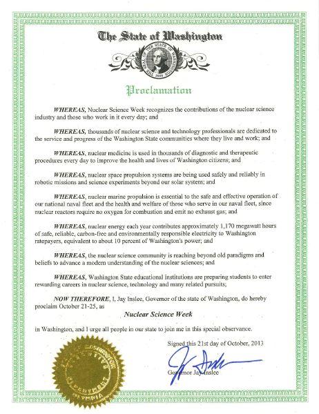 wa nuclear science week proclamation