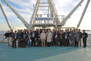 The American Nuclear Society's tour group, along with some of the Savannah staff.  Photo courtesy Erhard Koehler.
