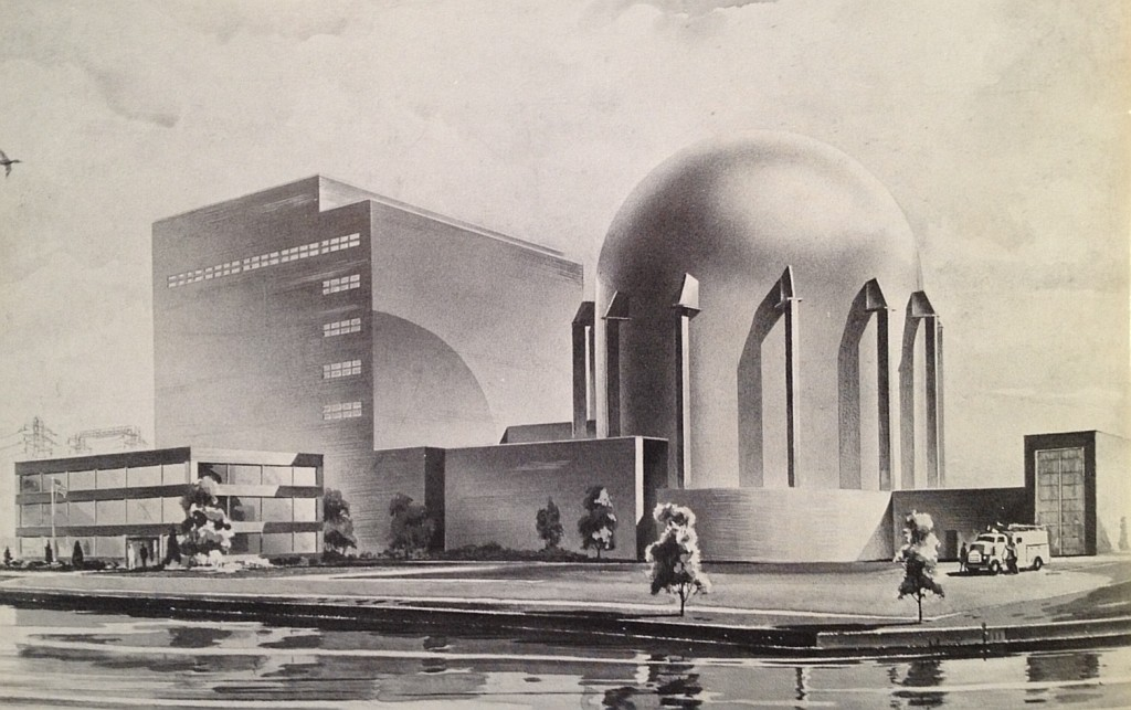 Futuristic illustration from 1955 Progress Report, Atomic Power Development Associates, published March 1956.  This would become the Enrico Fermi Atomic Power Plant.