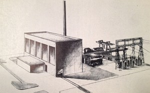 """""""Perspective drawing of atomic energy power plant,"""" from Pacific Gas & Electric / Bechtel Corporation report to the US Atomic Energy Commission, 1952.  This is one of the dual pupose (power and weapons) studies performed for the AEC prior to Eisenhower's speech as described in the article; this consortium considered water cooled thermal and sodium cooled fast reactors for this plant, each rated 500 MWt.  From Reports to the US Atomic Energy Commission on Nuclear Power Reactor Technology, US AEC, May 1953."""