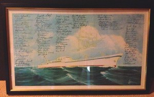 The NS Savannah is simply full of wonderful artifacts - there wasn't time to see them all, and some aren't even yet properly mounted or labeled.  One such item was this print signed by the crew, which was spotted leaning against a podium in the Eisenhower Room.  Photo for ANS by Will Davis.