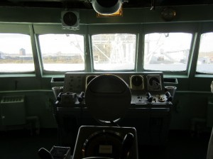 View directly forward out of the bridge windows, over the ship's wheel.  Photo for ANS by Paul Bowersox.