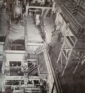 """The projects listed in the Five Year Plan were eventually built.  Shown here is the HRE-2 experimental plant under construciton at Oak Ridge National Laboratory; """"core"""" is upper left.  See next illustration.  From """"Atoms for Peace USA 1958"""" - see sources."""