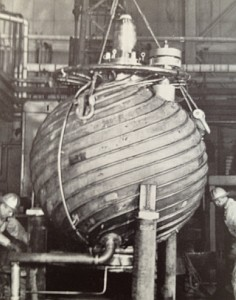 """HRE-2 reactor pressure vessel being installed.  """"Atoms for Peace USA 1958"""" - see sources."""