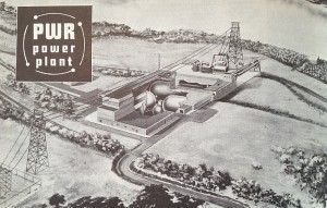 "Westinghouse Electric Corporation promotional illustration showing ""PWR"" (Shippingport Atomic Power Station) plant and site.  ""Selected Articles on Nuclear Power,"" Westinghouse Electric (see sources.)"