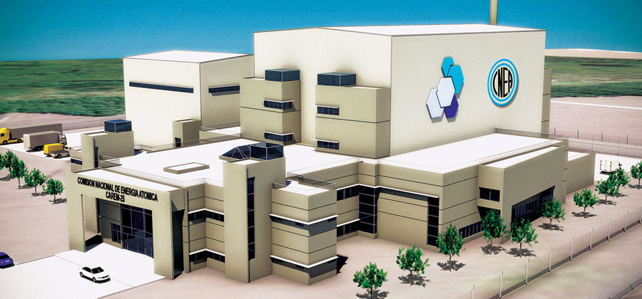 CAREM 25 nuclear plant final design, courtesy CNEA.  The largest building is the reactor building; the turbine or BOP building is to the left.
