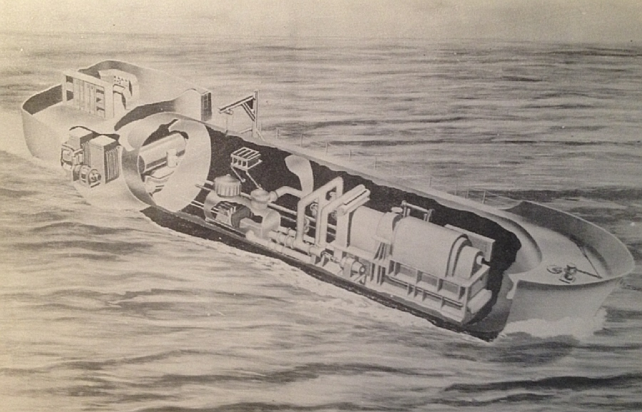 "The earliest concept for what became the STURGIS is seen in an illustration from the book ""Army Nuclear Power Program,"" published by the Engineer School, Fort Belvoir, 1958.  Under ""Possible Future Projects"" is ""Barge-mounted Plants,"" described thus:  ""Another type of mobile plant which has been considered, would be mounted on a barge as shown in Figure 7 or on a mobile pier.  Such plants could be built to furnish large blocks of electric power for remote installations and for emergency use both overseas and in the United States."""
