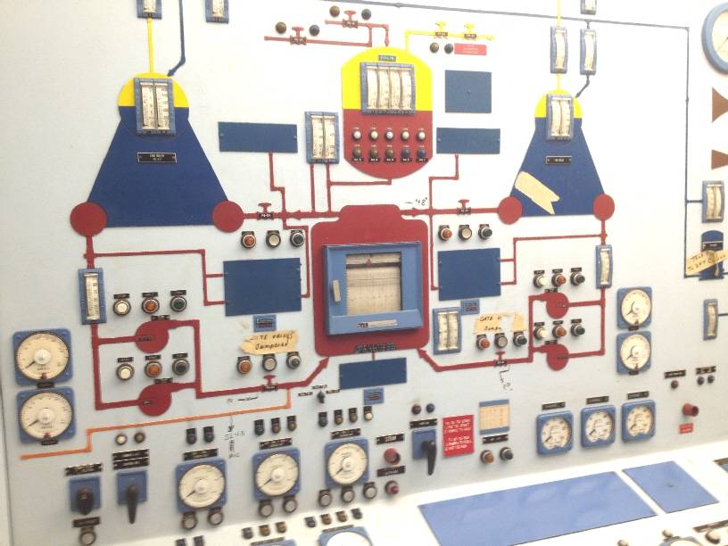 On Sunday, select groups of passengers were taken to the control room by NSSA Event Coordinator Bucky Owens - himself a former reactor operator on the ship.  These spaces are not normally toured by the public.  This photo (actually taken May 17) shows the vertical portion of the reactor control section of the console.