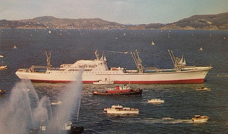 Nuclear energy has been employed to power hundreds of military vessels; it's also been used to propel at least three merchant ships.  The first, NS SAVANNAH, is shown.  Illustration courtesy NS Savannah Association, Inc.
