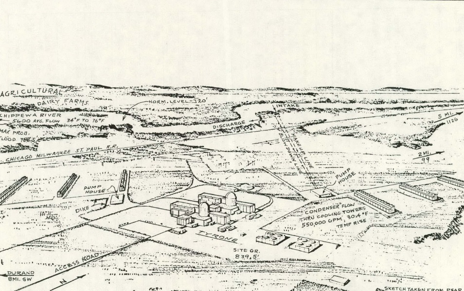 """Northern States Power's Tyrone Energy Park as originally envisioned. Both units were eventually cancelled.  Illustration from ORNL-NSIC-55 Vol. IV, """"Design Data and Safety Features of Commercial Nuclear Power Plants."""" Illustration originally from PSAR for Tyrone and modified for this publication."""