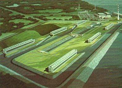 Before Browns Ferry was fully operational a giant 3000 foot long complex of mechanical draft cooling towers was added to satisfy new legislation that restricted impact to natural bodies of water. From 1976 TVA brochure.