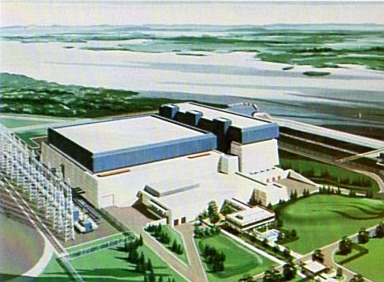 Browns Ferry Nuclear Plant - artist's concept of final three-unit design.  From TVA Browns Ferry brochure 1976.