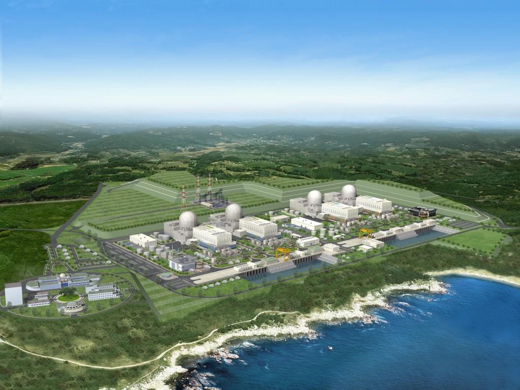 South Korea's Shin-Kori units 3 and 4 (left pair) and 5 and 6 (right pair.)  Preconstruction art courtesy KEPCO.