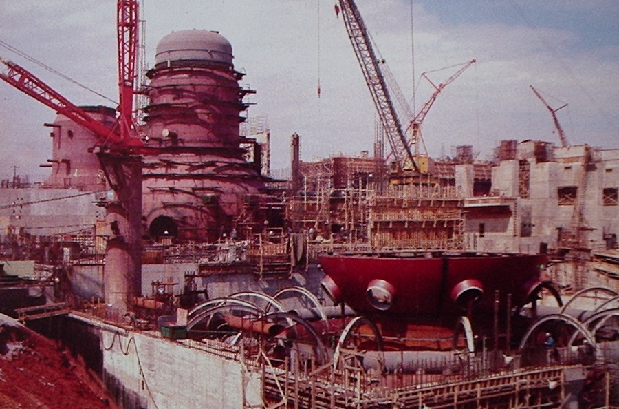 TVA's Browns Ferry Nuclear Plant under construction; photo from TVA brochure, Will Davis collection.