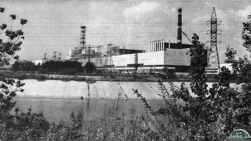 Chernobyl NPP.  Unit 1 is nearest the camera; the ill-fated Unit 4 furthest.