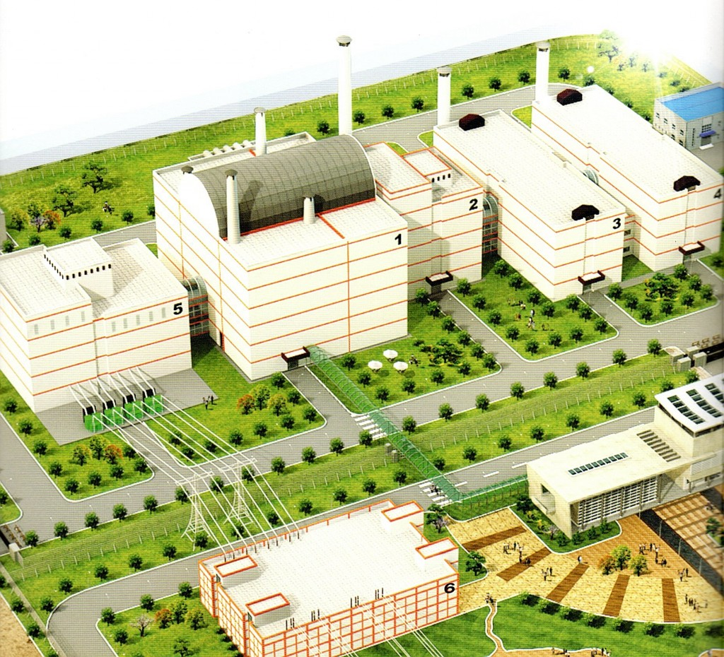 Artist's concept of Sodium Cooled Fast Reactor prototype plant, courtesy SFRA.  Key: 1) Reactor Building. 2) Fuel Handling Building. 3) Pyroprocessing Building. 4) Fuel Fabrication Building. 5) Turbine Building. 6) Switchyard. At lower right corner is the Administration Building.