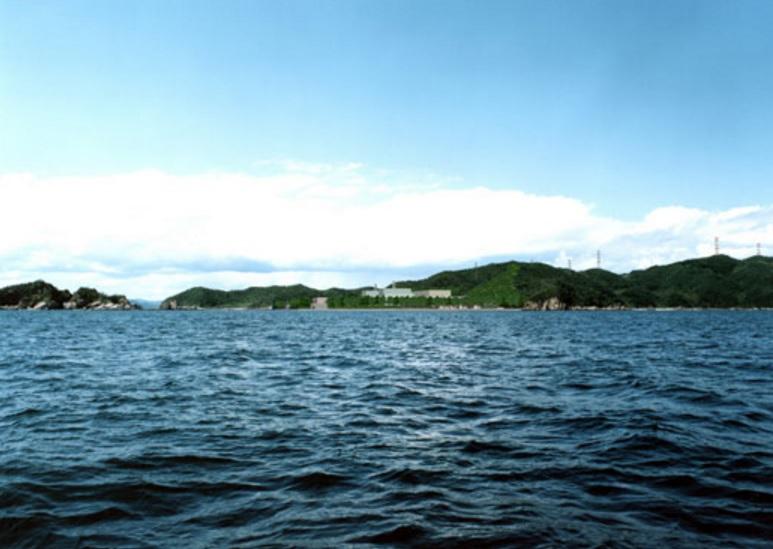 Sea view of prospective Kaminseki Nuclear Power Station, courtesy Chugoku Electric Power Company.