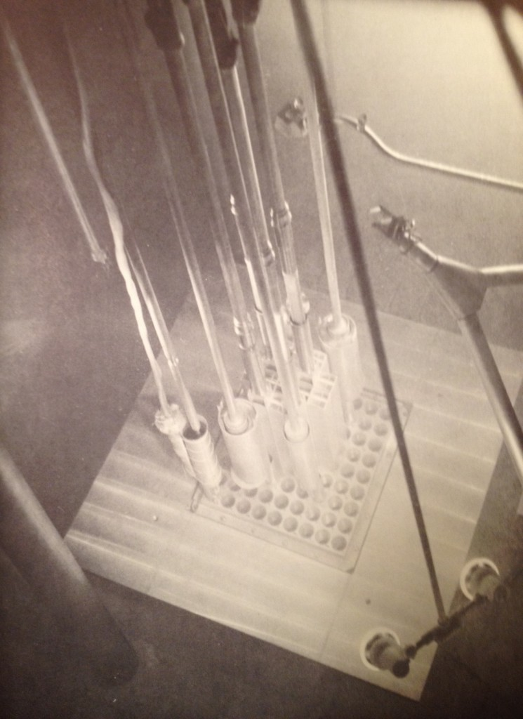SYLCOR plate type fuel elements in operation, Chalk River Pool Test Reactor.  Will Davis collection.