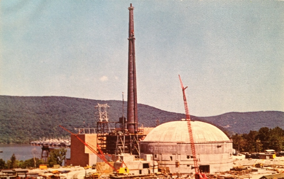 Indian Point Unit 1 under construction.  Photo in Will Davis library.