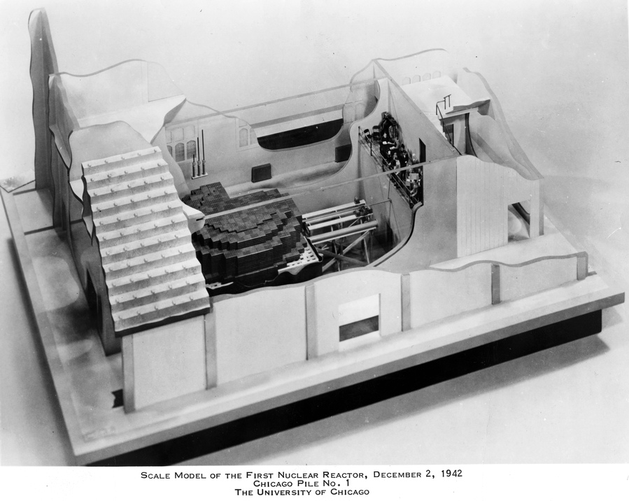Model of CP-1 as built under stands at Stagg Field, with no shielding and no cooling system.  Courtesy Argonne National Laboratory.