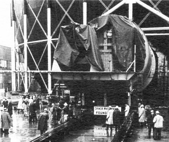 """SIR Naval Prototype Plant rolled into containment sphere; March 20, 1954.  From brochure """"The Seawolf Story"""" in Will Davis library."""