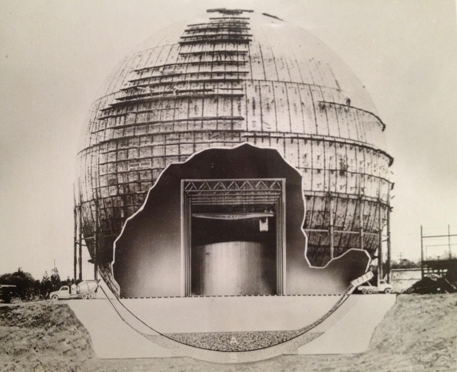 General Electric press photo airbrushed to show shielding tank for SIR, later S1G prototype inside 225 foot diameter spherical containment - the largest spherical containment ever built for a nuclear plant.  Press Photo in Will Davis library.