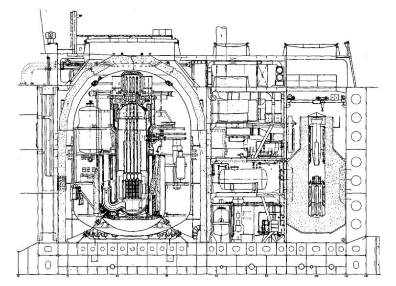 Nuclear reactor (left) and fuel storage (right) spaces of Otto Hahn, courtesy Peter Dobschuetz, FRG Environment Ministry.