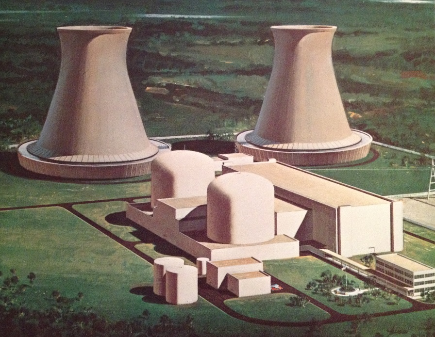 Hope Creek, shown here, was designed as a nuclear power station with two units.  There are thus two reactors, which are inside the can-shaped containment buildings, and there are also two turbine-generators inside the long turbine building.  Palisades, seen earlier, used 'open cycle' cooling (water coming from and returning to a lake) while Hope Creek seen here uses 'closed cycle' cooling, with cooling towers.  Hope Creek was eventually completed with only one unit.  Illustration from brochure in Will Davis library.