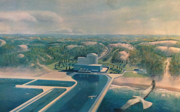 Artist's concept of Palisades Nuclear Plant.  This is a nuclear power plant, or station, with a single unit, or said another way, a single reactor.  Illustration from brochure in Will Davis library.