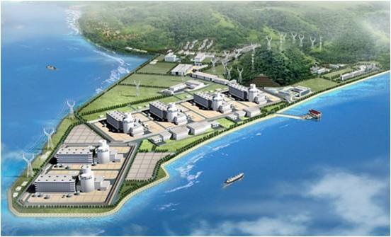Sanmen NPP in China, shown in this preconstruction artwork, is intended to be a six unit nuclear generating station.  Artwork courtesy State Nuclear Power Technical Corporation.
