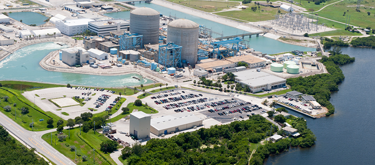 Florida Power & Light's St. Lucie nuclear plant.  Not only is this plant greenhouse gas free and very low in life cycle total emissions, but it and several others recently stood up to a major hurricane.  Resilience is important in securing a bright energy future. (Photo courtesy FPL.)