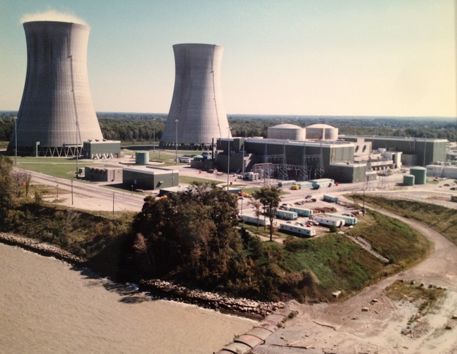 Perry Nuclear Plant in Ohio.  Nuclear plants create no emissions of their own; the cooling towers emit only water vapor.  Press photo in Will Davis collection.