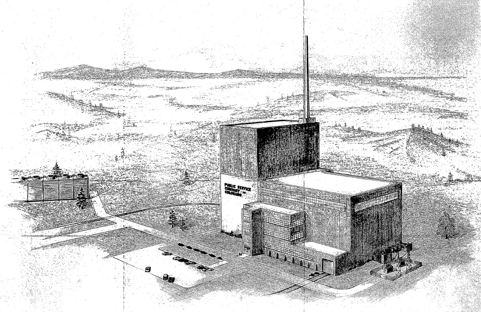 This sketch from a 1965 General Atomic report shows the planned layout of the plant, with the large concrete containment vessel enclosed in the tall structure and the turbine generator in the long projecting structure.  While not 100 per cent accurate this design sketch did come out to be close.