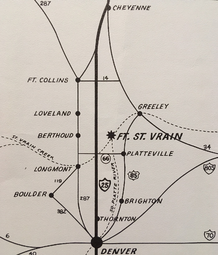 This map shows the selected location for PSCo's new nuclear plant, November 1965, at a location between Cheyenne and Denver and just to the northwest of Platteville.
