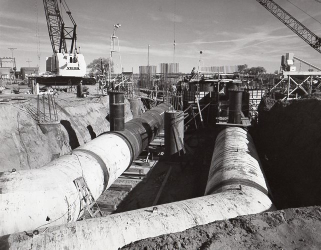 Fort St Vrain circ water pipes under turbine foundation
