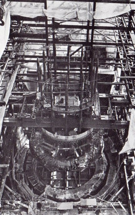"""Aerial view of the bottom head assembly before it was lowered into final position."""