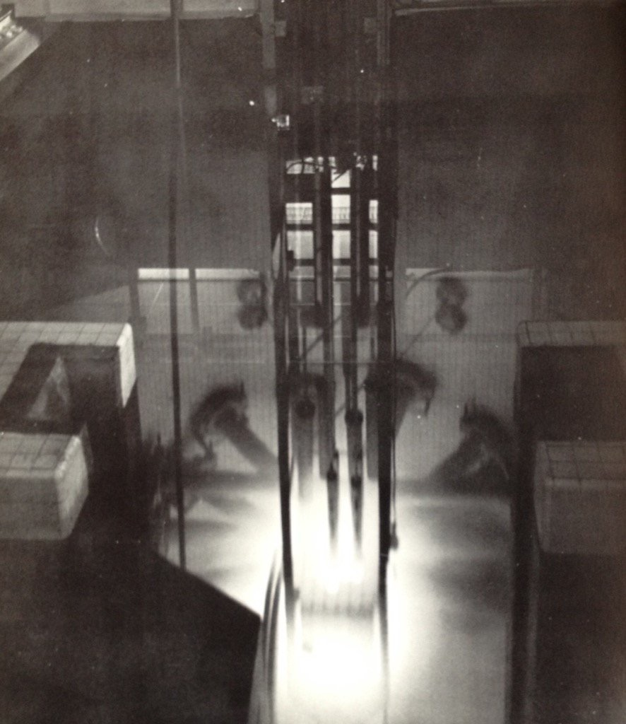Ford Reactor, University of Michigan at full power.  Cherenkov glow surrounds the core.