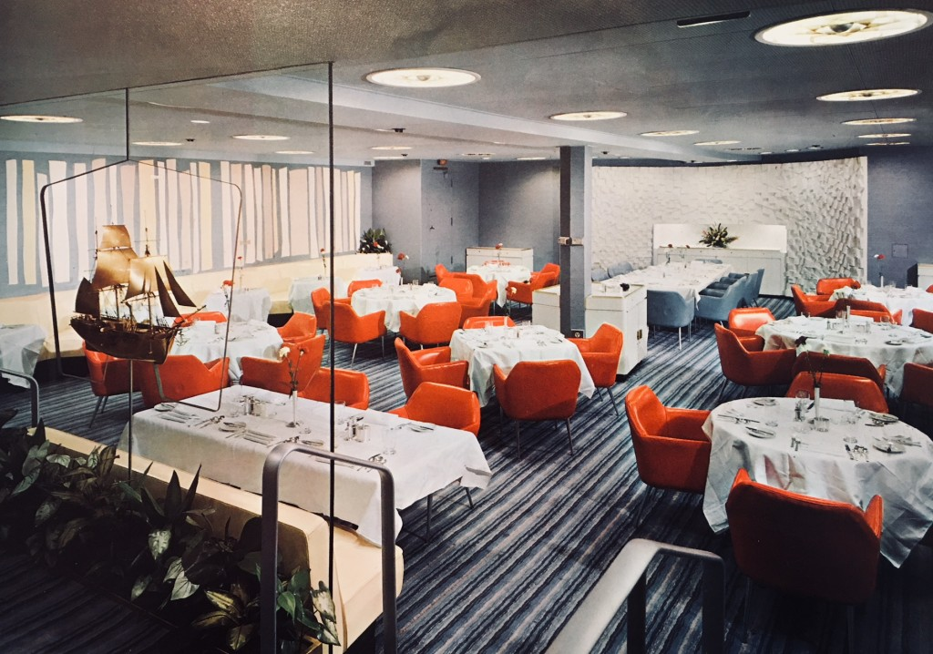 Main Dining Room, NS SAVANNAH.  Photo from brochure in Will Davis collection.