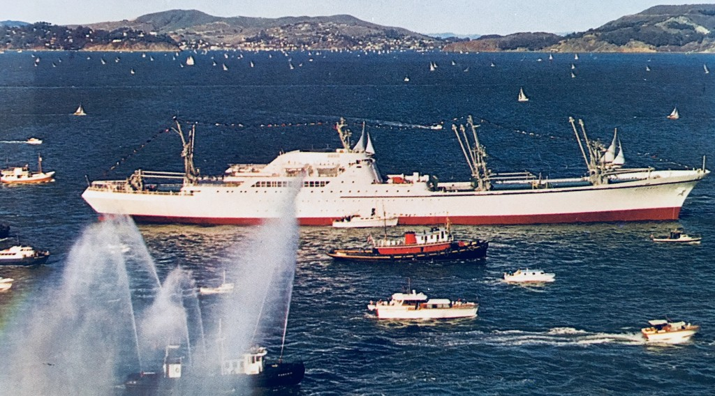 Fireboats escort and salute NS SAVANNAH.  From brochure in Will Davis collection.