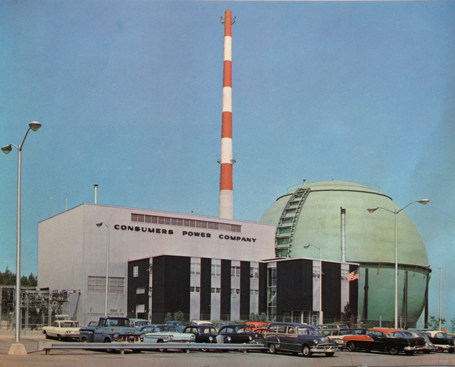 Nuclear energy is perhaps mankind's ultimate technical achievement.  (Big Rock Point photo from Consumers Power brochure in my collection.)